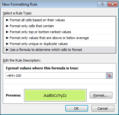 Dummy formula pasted, rule ready to save