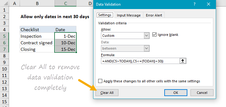 Use the Clear All button to remove data validationhttps://exceljet.net/sites/default/files/images/articles/inline/Clear%20all%20to%20remove%20data%20validation%20completely.png