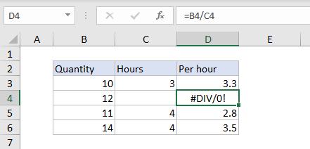 Excel #DIV/0!  error example