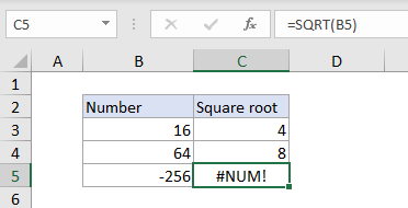 Excel #NUM! error example