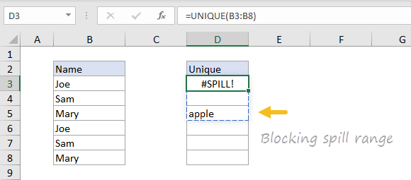 Excel #SPILL error example