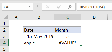 Excel #VALUE! error example with MONTH function