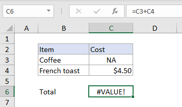 Excel #VALUE! error example