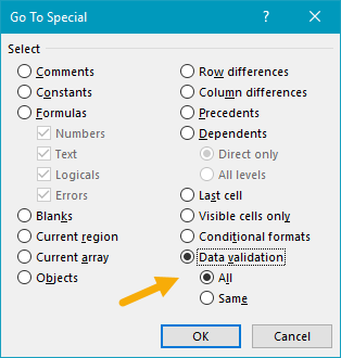 Select data validation with go to special dialog