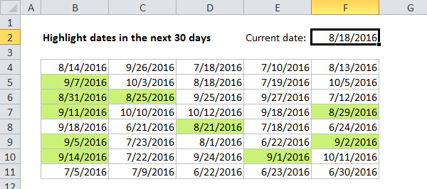 Conditional formatting to highlight dates in the next 30 days