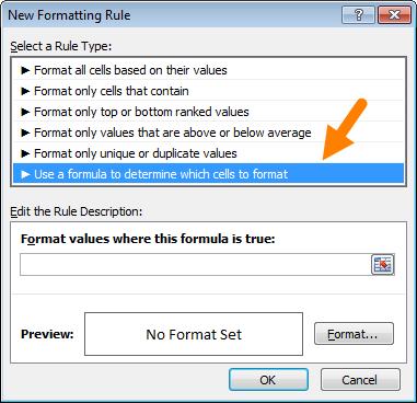 Seleccionar a opção Fórmula