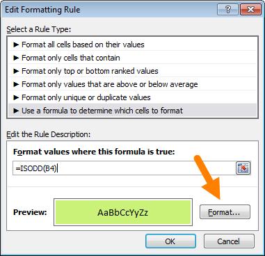 Definir opções de formatação