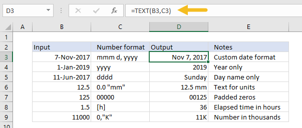 Applying number formats with the TEXT function