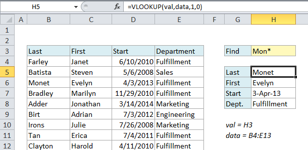 VLOOKUP with wildcards - using an asterisk directly
