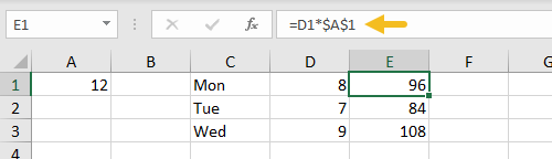 Absolute reference example after value in A1 is changed