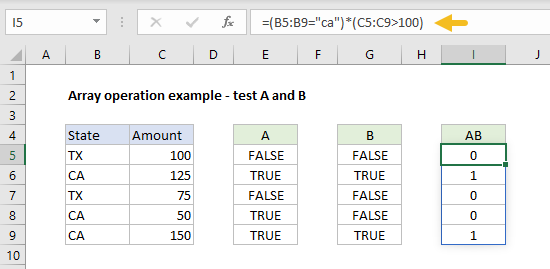 Array operation example test a and b