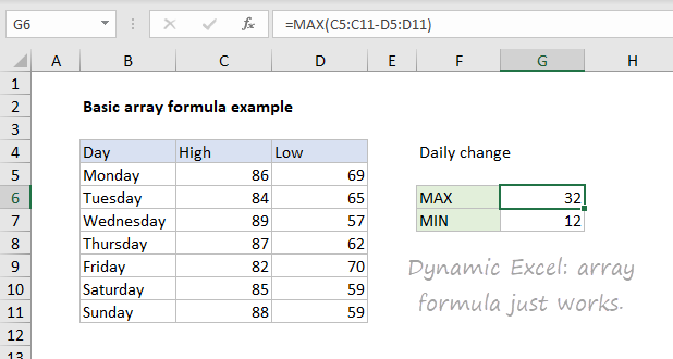 Basic array formula in traditional Excel