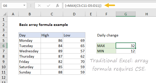 Basic array formula in dynamic Excel