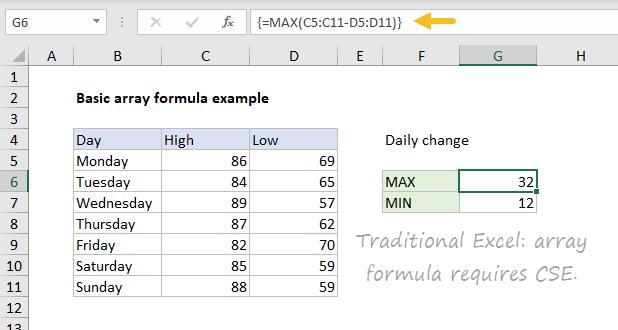 Basic array formula in dynamic Excel