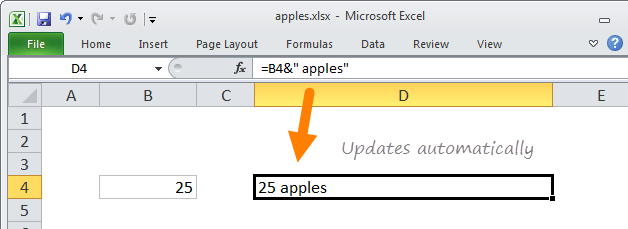 Concatenation formula updates automatically