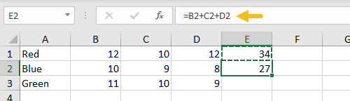 Formula in E1 pasted to E2