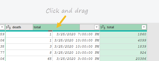 Click and drag columns to reorder
