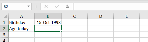 Need a formula to calculate current age in B2
