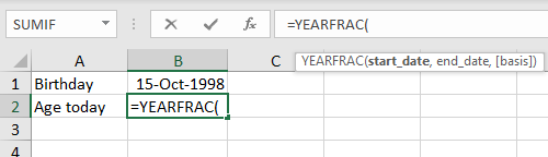 YEARFRAC will calculate years with a start date and end date