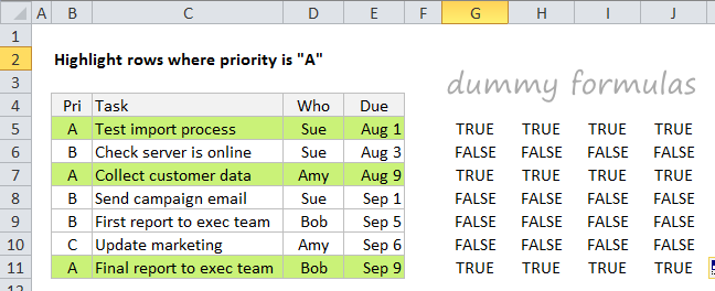 Use dummy formulas to check conditional formatting formulas