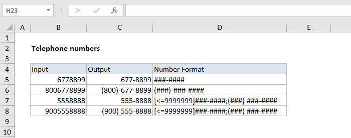 Custom number format for telephone numbers