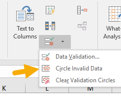 Circle invalid values with data validation - menu