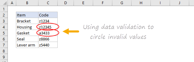 Data validation invalid values circled on worksheet
