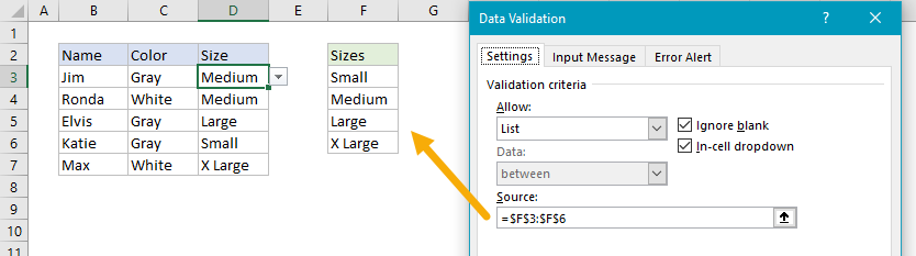 Data validation dropdown menu values with worksheet reference