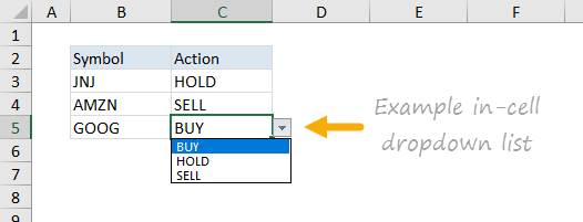 Example data validation dropdown menu