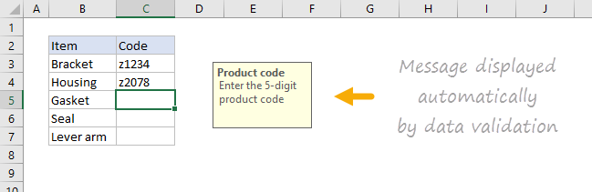 Example data validation message displayed when cell selected