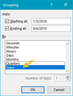 Date grouping settings - group by Years only
