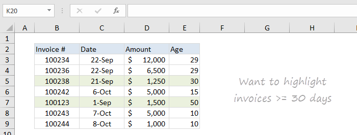 Sample screenshot - how to highlight overdue invoices