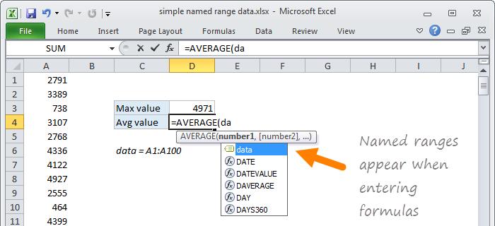 Named ranges appear when entering formulas