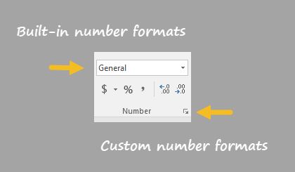 Number format menu on Home tab of Ribbon