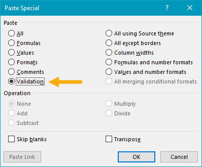 Using paste special to copy data validation