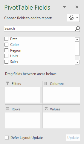 Fields pane for new empty pivot table