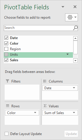 Pivot table fields pane - sales by color and by year