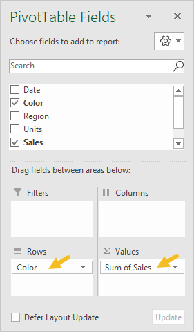 Pivot table fields pane - sales by color