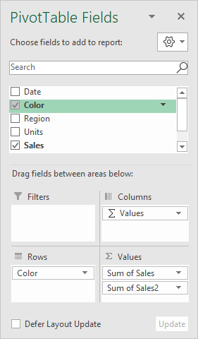 Pivot table fields pane - sales by color with percentage