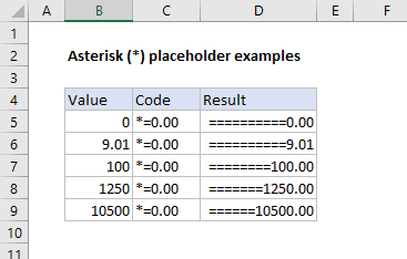 Asterisk placeholder examples