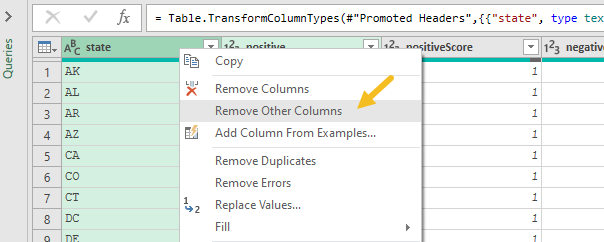Right-click, select Remove Other Columns