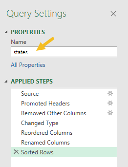 "Rename query to ""states"""
