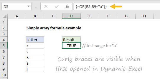 Simple array formula with curly braces visible