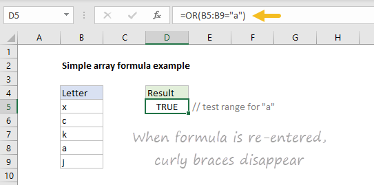 Simple array formula with curly braces not visible