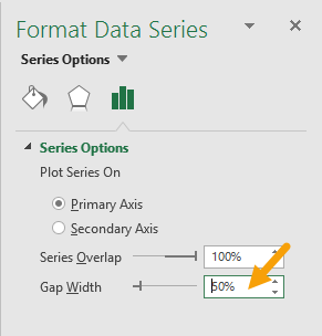 Select data series and decrease gap width