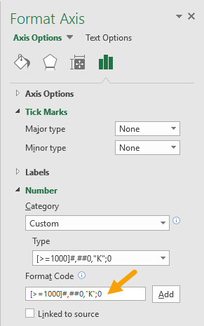 Apply custom number format to primary axis
