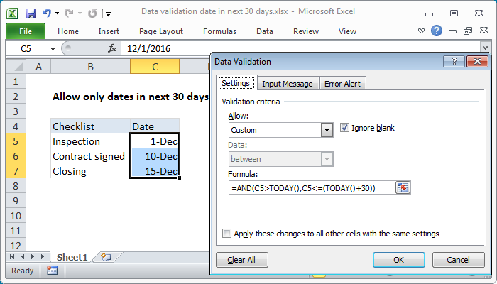 Excel formula: Data validation date in next 30 days