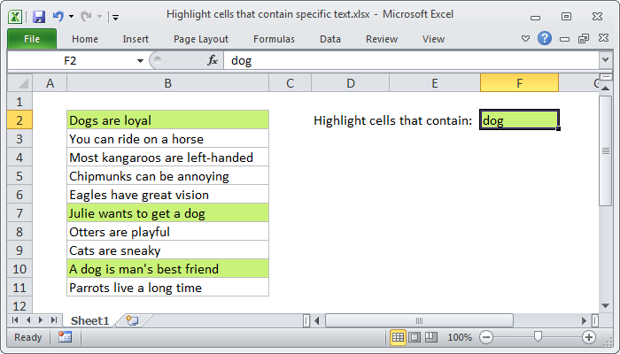 Excel formula: Highlight cells that contain