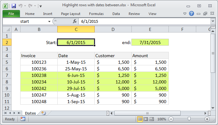 Excel formula: Highlight rows with dates between