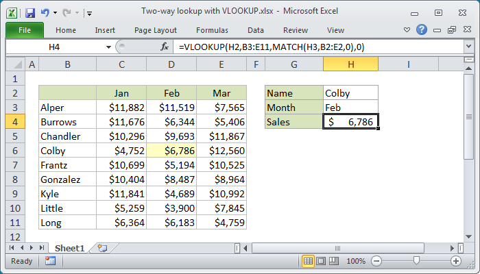 Excel Formula Two Way Lookup With Vlookup Exceljet